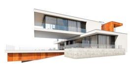 rendu 3d de maison moderne d'isolement sur le blanc Image libre de droits