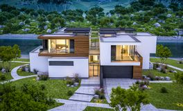 rendu 3d de maison moderne par la rivière à la soirée Images stock