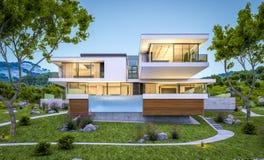 rendu 3d de maison moderne par la rivière à la soirée Image stock