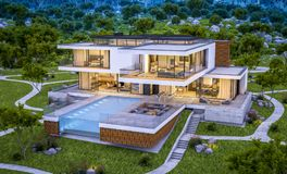 rendu 3d de maison moderne par la rivière à la soirée Image libre de droits