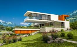 rendu 3d de maison moderne par la rivière Photos libres de droits