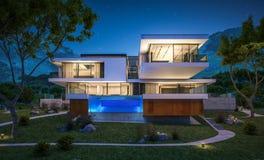rendu 3d de maison moderne par la rivière Image libre de droits
