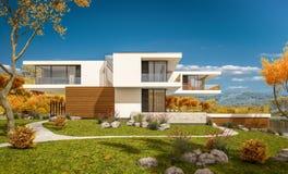 rendu 3d de maison moderne par la rivière Photographie stock libre de droits