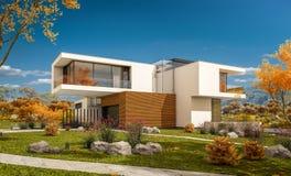 rendu 3d de maison moderne par la rivière Photo stock