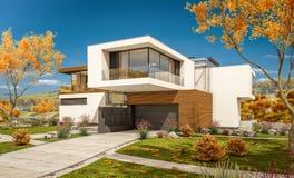 rendu 3d de maison moderne par la rivière Image stock
