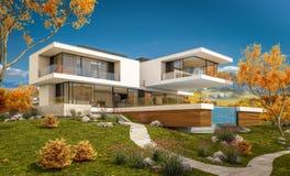 rendu 3d de maison moderne par la rivière Photographie stock