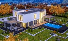 rendu 3d de maison moderne par la rivière Images stock