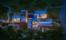 rendu 3d de maison moderne par la rivière la nuit Photographie stock
