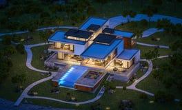 rendu 3d de maison moderne par la rivière la nuit Image stock