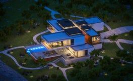 rendu 3d de maison moderne par la rivière la nuit Image libre de droits