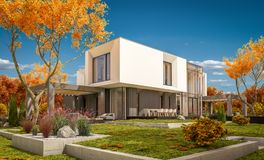 rendu 3d de maison moderne pendant le jour ensoleillé lear d'automne de  du jardin Ñ Photo libre de droits