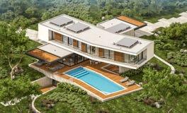 rendu 3d de maison moderne sur la colline avec la piscine