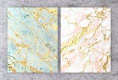rendu 3D de marbre naturel avec la texture d'or d'aluminium pour la carte l'épousant et de salutation d'invitation ou votre conce illustration libre de droits