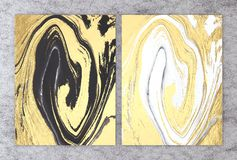 rendu 3D de marbre noir et blanc avec l'aluminium d'or pour la carte l'épousant et de salutation d'invitation ou votre conception illustration de vecteur