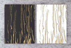 rendu 3D de marbre noir et blanc avec l'aluminium d'or pour la carte l'épousant et de salutation d'invitation ou votre conception illustration libre de droits