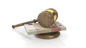 rendu 3D de marteau sur le paquet de billet de banque de 50 euros Photos libres de droits