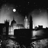 rendu 3D de nuit victorienne de ville d'ère Photo libre de droits