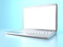 rendu 3D de PC moderne d'ordinateur portable sur la table en verre et le fond bleu Photos stock