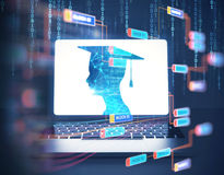 rendu 3d de silhouette humaine virtuelle sur l'écran d'ordinateur portable Photos stock