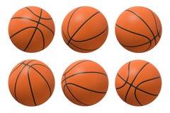 rendu 3d de six basket-balls montrés dans différents angles de vue sur un fond blanc images stock