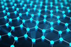 rendu 3D de structure atomique de Graphene - illustration de fond de nanotechnologie Photos libres de droits