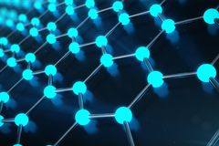 rendu 3D de structure atomique de Graphene - illustration de fond de nanotechnologie Photographie stock