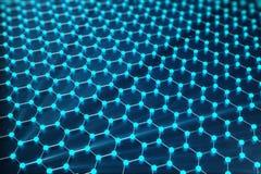 rendu 3D de structure atomique de Graphene - illustration de fond de nanotechnologie Image stock