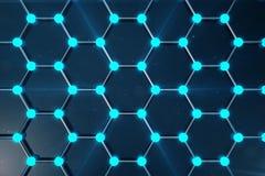 rendu 3D de structure atomique de Graphene - illustration de fond de nanotechnologie Photos stock