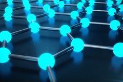 rendu 3D de structure atomique de Graphene - illustration de fond de nanotechnologie Images libres de droits