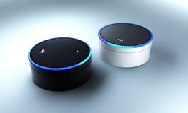 rendu 3d de système de reconnaissance vocale d'écho d'Amazone Photo libre de droits