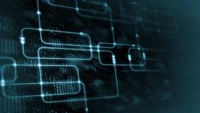 rendu 3D de technologie abstraite de Digital Organigramme bleu de logiciel de couleur sur le fond de diagramme de système de la s photographie stock libre de droits