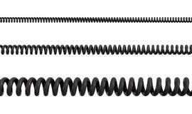rendu 3d de trois câbles en spirale différent classés du PVC noir sur un fond blanc illustration stock