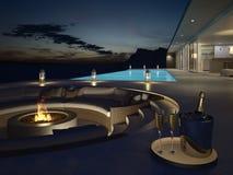 rendu 3d de villa de piscine avec le champagne Années de veille neuves Photos stock