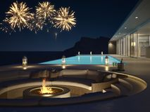 rendu 3d de villa de piscine avec les feux d'artifice et le champagne Années de veille neuves Photo libre de droits