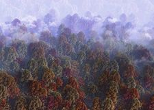 rendu 3d de vue de colline fumeuse en automne horizontal de forêt de jour ensoleillé illustration stock