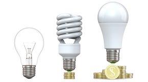 rendu 3d des ampoules de tungstène, fluorescentes et de LED, sur la pile de pièces de monnaie, d'isolement sur le fond blanc illu Photographie stock libre de droits