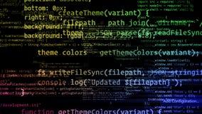 rendu 3D des blocs abstraits de code situés dans l'espace virtuel Photo stock