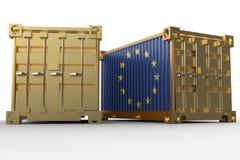 rendu 3d des conteneurs de cargaison d'expédition avec le drapeau de l'Union européenne illustration libre de droits