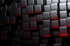 rendu 3D des cubes en noir avec la floraison rouge Photographie stock