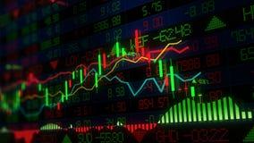 rendu 3D des indices des actions dans l'espace virtuel Croissance économique, récession photo stock