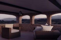 rendu 3d des meubles de patio de style de la Toscane et de jardin de rotin Images libres de droits
