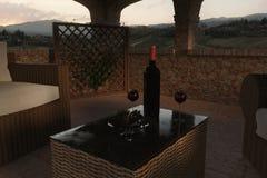 rendu 3d des meubles de patio de style de la Toscane et de jardin de rotin Images stock