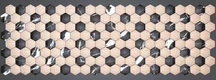 rendu 3D des panneaux de mur d'hexagone, marbre noir matériel avec le hêtre en bois de placage pour votre projet ou conception in illustration stock