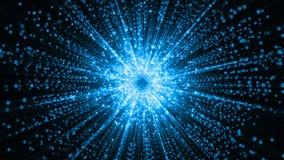 rendu 3D des particules recueillant au centre de l'espace virtuel Une explosion lumineuse d'une étoile faite de particules Photo stock