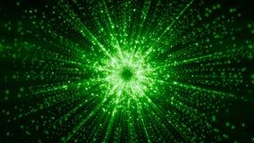 rendu 3D des particules recueillant au centre de l'espace virtuel Une explosion lumineuse d'une étoile faite de particules Images libres de droits