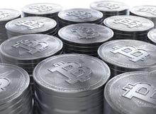 rendu 3d des piles de nouveau cryptocurrency de Bitcoins Images stock