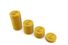 rendu 3D des piles de pièces de monnaie d'or sur le fond blanc Photos stock