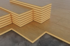 rendu 3D des piles de planches en bois de bois de construction sur le flo en bois Photos stock