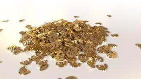 rendu 3d des signes en baisse de l'euro Option dans le style d'or blanc Photos stock