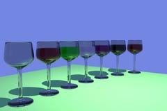 rendu 3D des verres de vin avec le fond bleu Photo stock